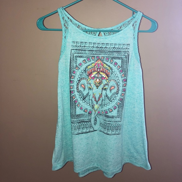 No Boundaries Other - Sky Blue Elephant Tank top for Girls